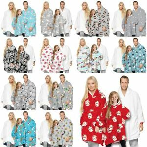 Adult Kid Winter Soft Oodie Comfy Nightware Fleece Blanket Hoodie Hoody Pullover