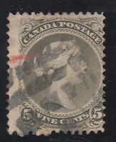 """Canada Scott #26  5 cent perf 11 1/2 x 12 olive green  """"Large Queen""""  F"""