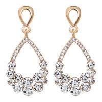 Pierced Tear Drop Shaped Sparkly Diamante Rhinestone Cluster Gold Tone Earrings