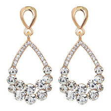 Pierced Tear Drop Shaped Sparkly Diamante Rhinestone Cluster Gold Tone Earrings