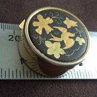 Vintage Gold Inlay Pillbox Black Round Asian Bird