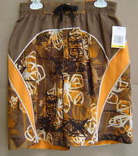 NWT $32 Boys M SPEEDO Brown Swim Trunks Volley Water Shorts 10 12 FREE SHIPPING