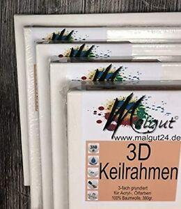 Malgut 3D Keilrahmen 40x80cm 3-fach grundiert, 380gr/m² Baumwolle 3,8cm SETS