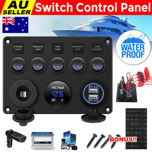 5 Gang Switch Panel ON-OFF Toggle Control USB Charger 12V/24V for RV Marine Boat