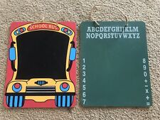 School Bus Alphabet Numbers Chalkboard 9.5�x7.5� Hanging Signs Lot of 2