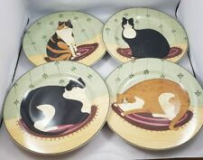 Warren Kimble Sakura Oneida Cat Collection Salad Plates Set of 4, 2000