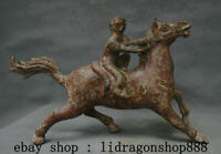 "12"" Ancien Bronze Chinois Feng Shui Zodiac Animal Singe Ride Cheval Statue"