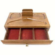 Vintage Wooden Mens Valet Wallet Dresser Desk Top Organizer Box Drawer