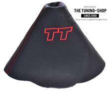 """Pour Audi TT 2006-2014 Soufflet Levier De Vitesse Cuir Noir """"TT"""" Rouge Broderie"""