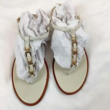 Banana Republic Womens Size 9.5 Chain Leather Thong Sandals Ivory