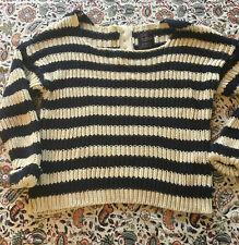 Pre-Loved Joe Brown's  Ladies Navy/Cream Striped Long Sleeved Jumper Size 10