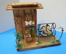Home Sweet Home Hanging Wooden Deco Art Swing W/Children On Porch