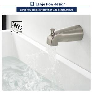 "1/2"" Tub Diverter Spout Bathroom Shower Bathtub Faucet Wall Mount Brushed Nickel"