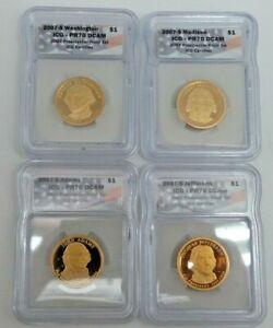2007-S Presidential Dollars Proof 4 Coin Set ICG PR70 DCAM  H180