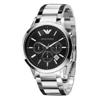 BRAND NEW EMPORIO ARMANI BLACK DIAL STAINLESS STEEL CHRONOGRAPH MEN WATCH AR2434