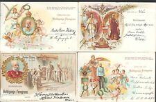 4 seltene Kaiser Franz Josef Huldigungs Litho - Karten aus 1898