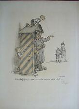 Francisque Poulbot, World War I    Original Lithograph 1915...D