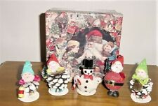 5 Vintage Japan Christmas Gnome Elf Pixie Santa Pinecone Ornaments Very Nice!