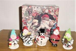 5 Vintage JAPAN CHRISTMAS GNOME ELF Pixie Santa PINECONE ORNAMENTS VERY NICE!!