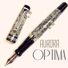 Aurora  Optima Gray Marble Auroloide Silver Trim 14K Fountain Pen