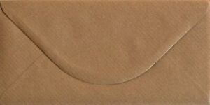 DL Ribbed Envelopes 110mm x 220mm Brown Recycled Gummed Pack of 25 by Cranberry