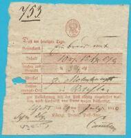 Postscheine Preußen Postschein handschr. UJEST in rot gedruckt, 29.07.1840!