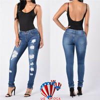 Women Distressed Destroyed Skinny Denim Jeans Bodycon Pants Trousers Plus Size