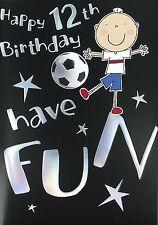 """Gold Age 12 Boy Birthday Card - Boy Kicking Football & Silver Stars 7.5"""" x 5.25"""""""