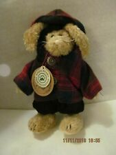 Boyd's Bear Emily Bunny 1990-97 Black Overalls/Red Plaid Jacket w/Hood Mint!