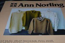 "Ann Norling Knitting Pattern Adult Basic Pullover 36-60"" 5 necks 4 styles"