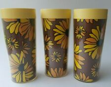 """3 Thermo Serv Plastic Tumblers 10 oz VTG Flower Power Yellow West Bend 6"""""""
