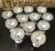 12 Sterling Silver Crystal Champagne Coupes Sherbet Glasses Etched Glass Liner