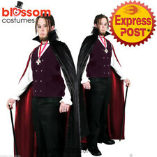 E36 Mens Deluxe Vampire Halloween Fancy Dress Up Costume Outfit + Cape