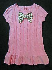 NWT Gymboree Parisian Chic Sweater Dress 3T Pink Leopard Bow Gem Cable Knit