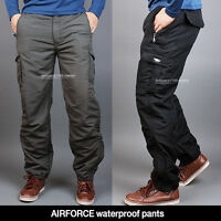 Men's Winter cargo pants fishing waterproof lined thermal work trousers fatigue