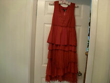 FABULOUS RED COTTON DRESS WITH LACEY LAYERS  FULLY LINED  M/L (14-16) BRAND NEW