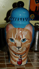 Custom hand painted funerary cremation urn for pets or people xlrg cat urn tabby