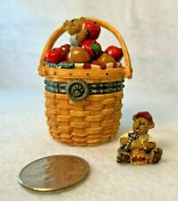 Boyds Bears Resin Kenny's Apple Basket Hinged Box Bear in Longaberger Basket