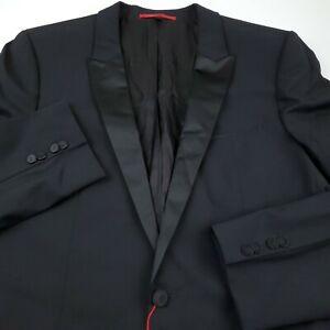 HUGO BOSS Aylor / Herys Tuxedo Suit Separate Jacket Mens 44L Black Peak Lapel