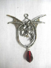 New Fantasy Dragon With Blood Red Crystal Dangle Cast Pewter Pendant Necklace