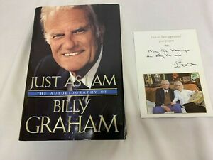 Just As I Am The Autobiography of Billy Graham 1st/1st Plus signed card w photo