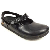 Birkenstock Alpro Clogs 2 Straps Sandals Mules Black Leather Germany Size 230 L5