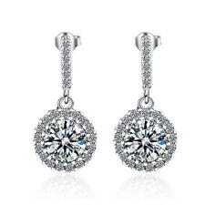 925 Sterling Silver CZ Round Drop Dangle Elegant Earrings for Women Jewelry Gift