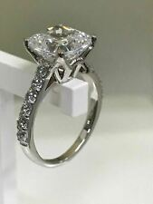 White,Cushion Cut Lab-created Diamond 3.50 CT Engagement Ring 14K White Gold