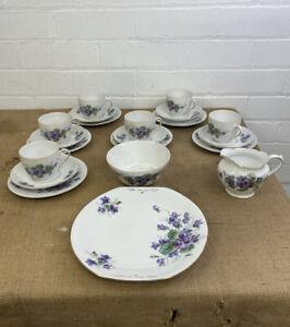 Victoria China Czechoslovakia Perfecta Purple Violets 21 Piece Part Tea Set