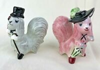 Vintage Anthropomorphic Dogs salt pepper shakers dinner opera clothes