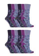 12 Prs Ladies SockShop Cotton Gentle Grip Socks 4-8 uk Sophie Floral Purple RH57