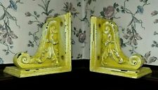 2 Vintage Corbel Bookends Pair Distressed Antiqued Lime Green Wood & Composite