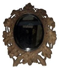 Antique Black Forest Carved Wooden Mirror 34x26cm