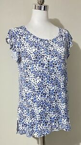 H&M Size S Small 8 10 Top Blue White Floral Cap Sleeve Viscose